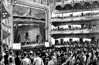 Dibuix de l'interior del Teatro Circo Barcelonés durant el I Congrés Obrer Espanyol al 1870.